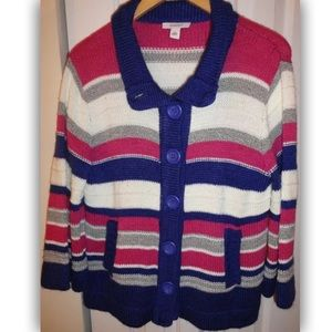 Dressbarn Multi Striped Button-Front Cardigan XL
